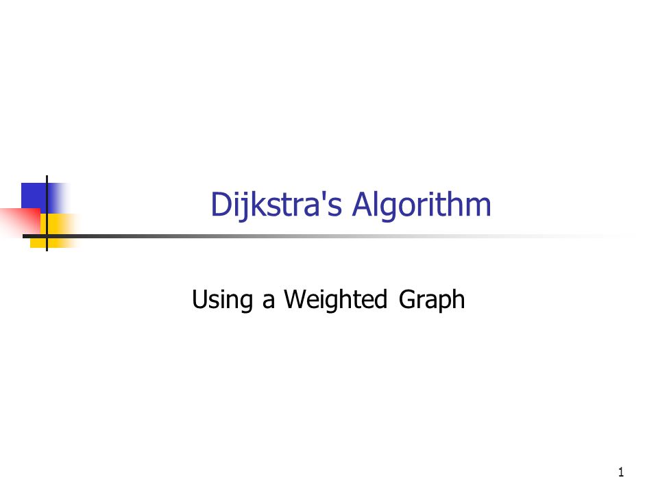 Dijkstra s Algorithm Using a Weighted Graph 1