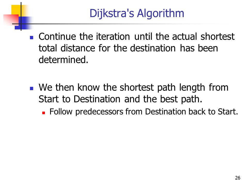 Dijkstra s Algorithm Continue the iteration until the actual shortest total distance for the destination has been determined.