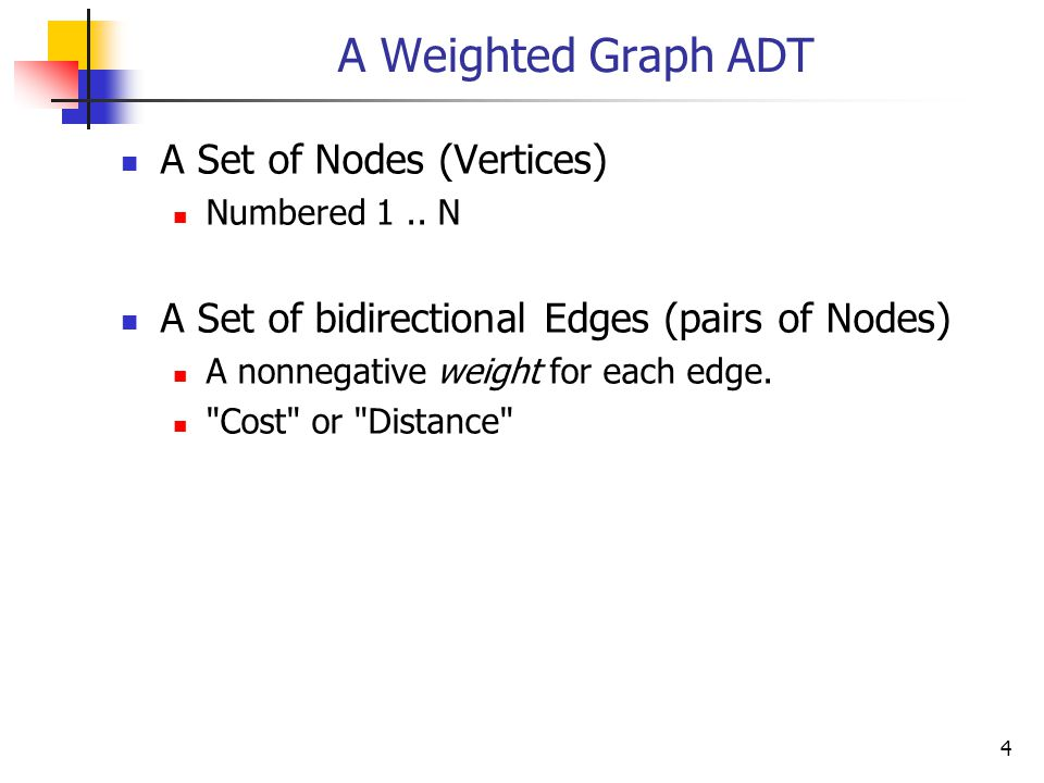 A Weighted Graph ADT A Set of Nodes (Vertices) Numbered 1..