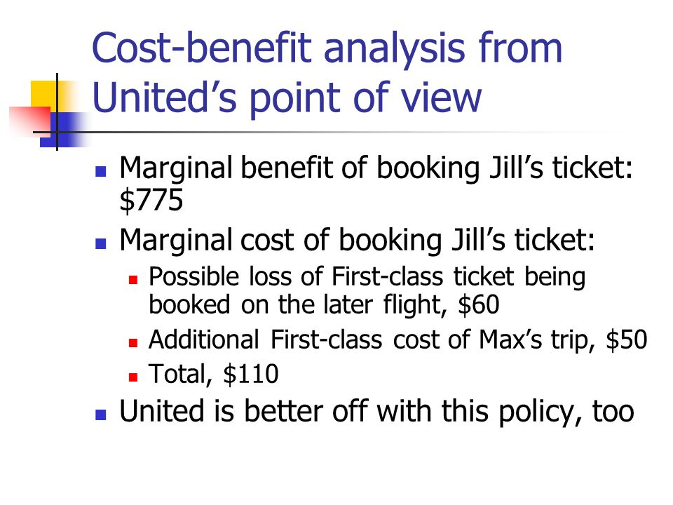 Cost-benefit analysis from United's point of view Marginal benefit of booking Jill's ticket: $775 Marginal cost of booking Jill's ticket: Possible loss of First-class ticket being booked on the later flight, $60 Additional First-class cost of Max's trip, $50 Total, $110 United is better off with this policy, too