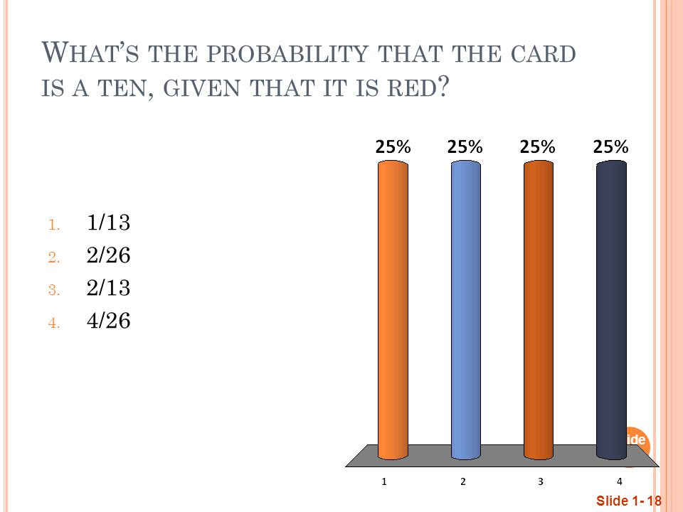 W HAT ' S THE PROBABILITY THAT THE CARD IS A TEN, GIVEN THAT IT IS RED .