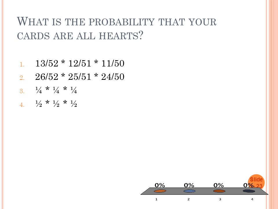 W HAT IS THE PROBABILITY THAT YOUR CARDS ARE ALL HEARTS ? 1. 13/52 * 12/51 * 11/50 2. 26/52 * 25/51 * 24/50 3. ¼ * ¼ * ¼ 4. ½ * ½ * ½ Slide 1- 23