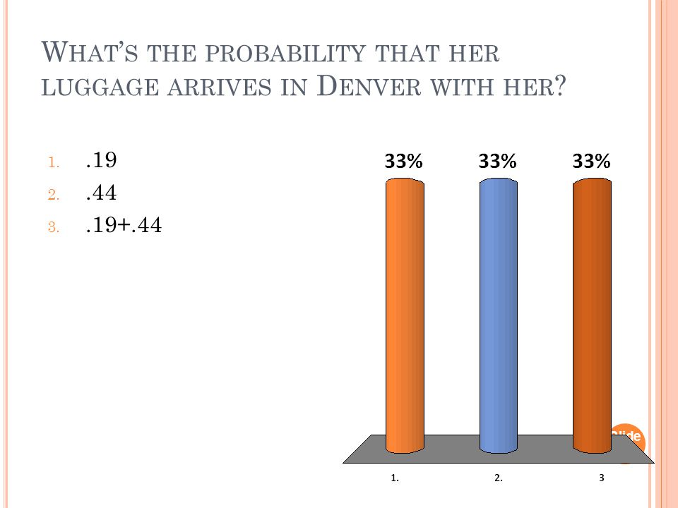 W HAT ' S THE PROBABILITY THAT HER LUGGAGE ARRIVES IN D ENVER WITH HER ? Slide 1- 29 1..19 2..44 3..19+.44