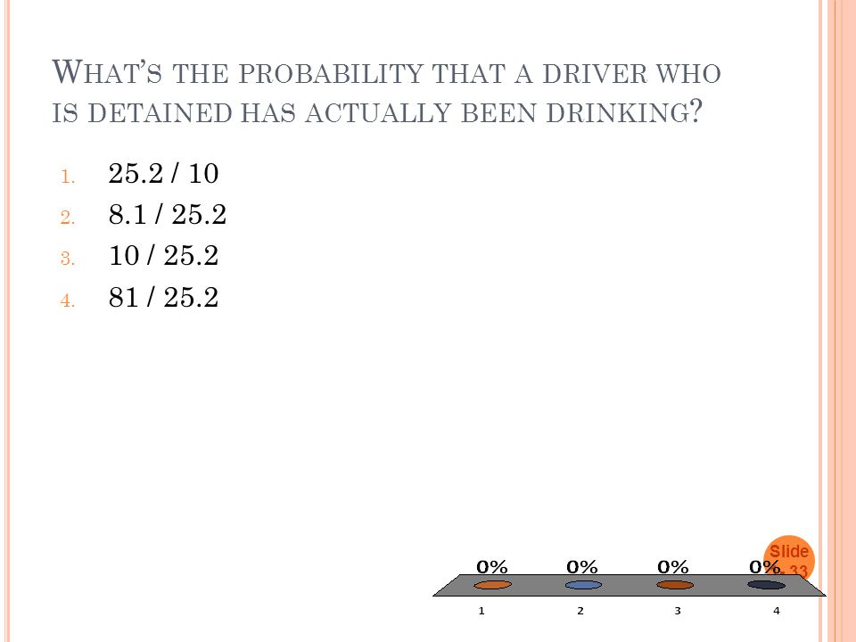 W HAT ' S THE PROBABILITY THAT A DRIVER WHO IS DETAINED HAS ACTUALLY BEEN DRINKING ? 1. 25.2 / 10 2. 8.1 / 25.2 3. 10 / 25.2 4. 81 / 25.2 Slide 1- 33