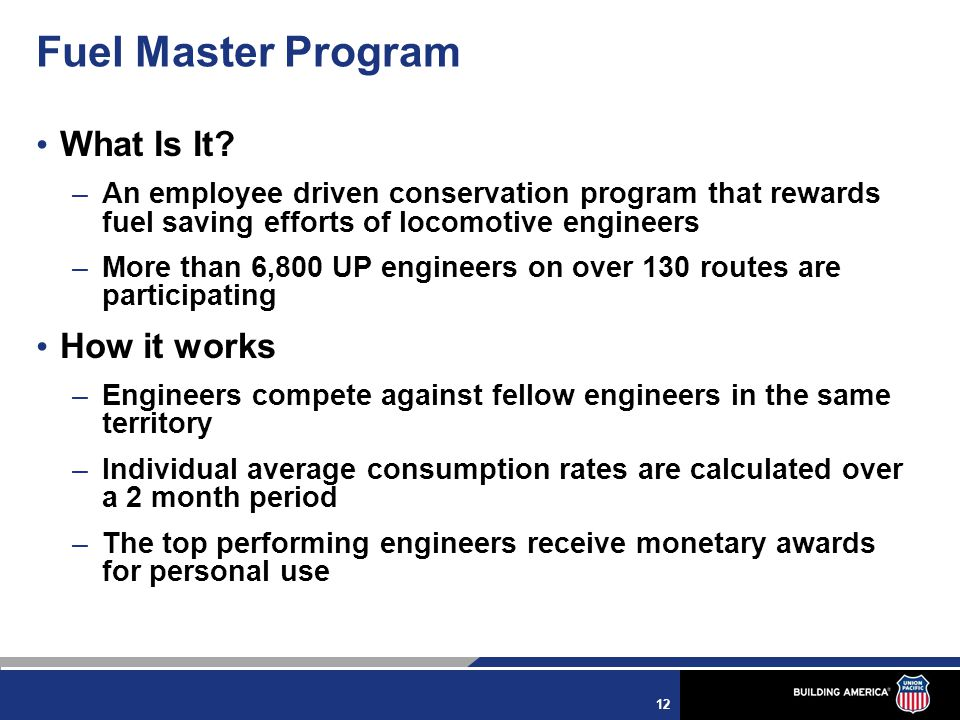 12 Fuel Master Program What Is It.
