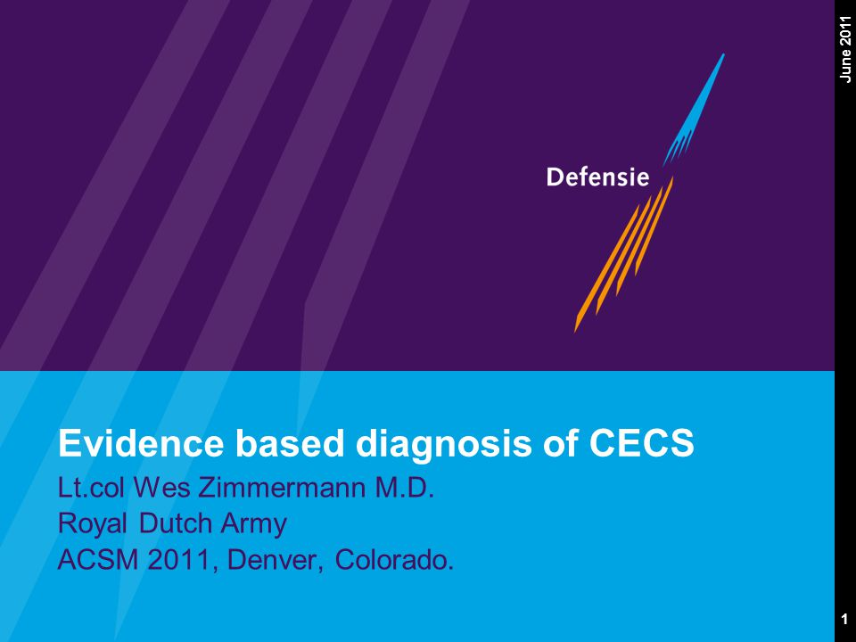 1 June 2011 Evidence based diagnosis of CECS Lt.col Wes Zimmermann M.D.