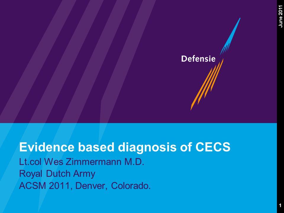 1 June 2011 Evidence based diagnosis of CECS Lt.col Wes Zimmermann M.D. Royal Dutch Army ACSM 2011, Denver, Colorado.