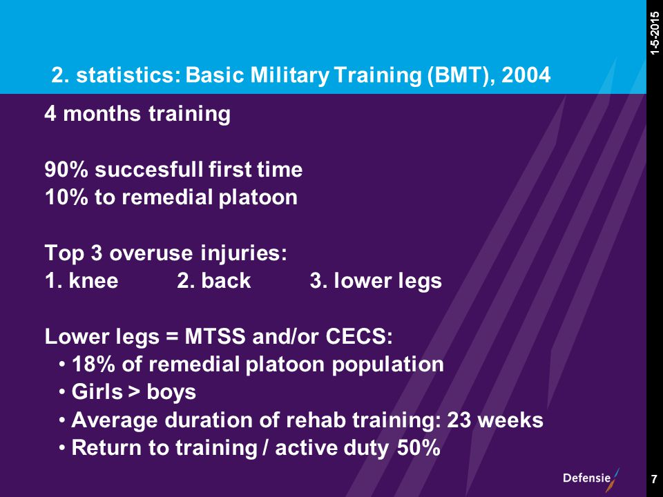 1-5-2015 7 2. statistics: Basic Military Training (BMT), 2004 4 months training 90% succesfull first time 10% to remedial platoon Top 3 overuse injuri