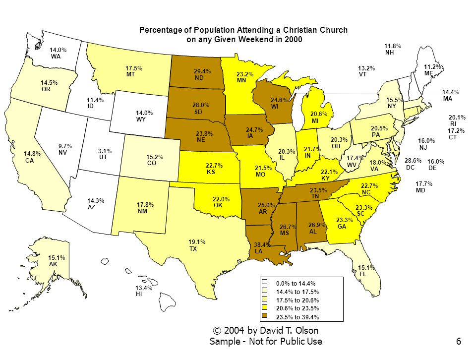 7 The Next Map shows the percentage of the population attending a Christian church on any given weekend in 2000 for each county in Colorado.