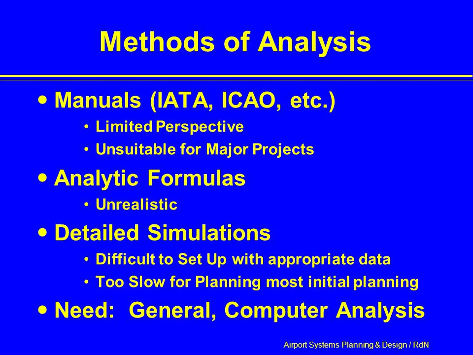 Airport Systems Planning & Design / RdN Methods of Analysis Manuals (IATA, ICAO, etc.) Limited Perspective Unsuitable for Major Projects Analytic Formulas Unrealistic Detailed Simulations Difficult to Set Up with appropriate data Too Slow for Planning most initial planning Need: General, Computer Analysis