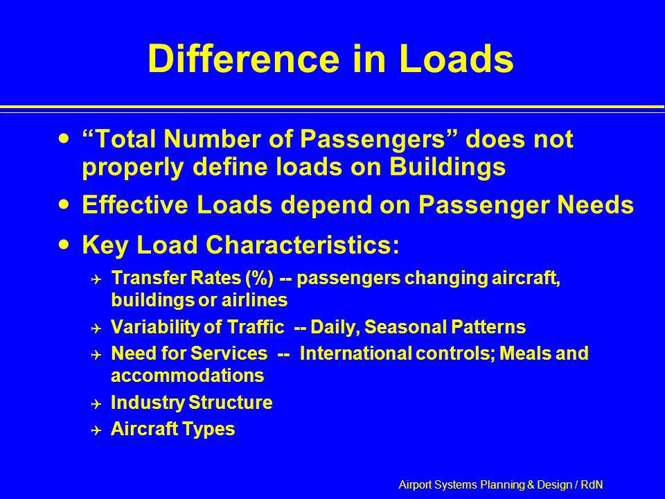 Airport Systems Planning & Design / RdN Difference in Loads Total Number of Passengers does not properly define loads on Buildings Effective Loads depend on Passenger Needs Key Load Characteristics:  Transfer Rates (%) -- passengers changing aircraft, buildings or airlines  Variability of Traffic -- Daily, Seasonal Patterns  Need for Services -- International controls; Meals and accommodations  Industry Structure  Aircraft Types