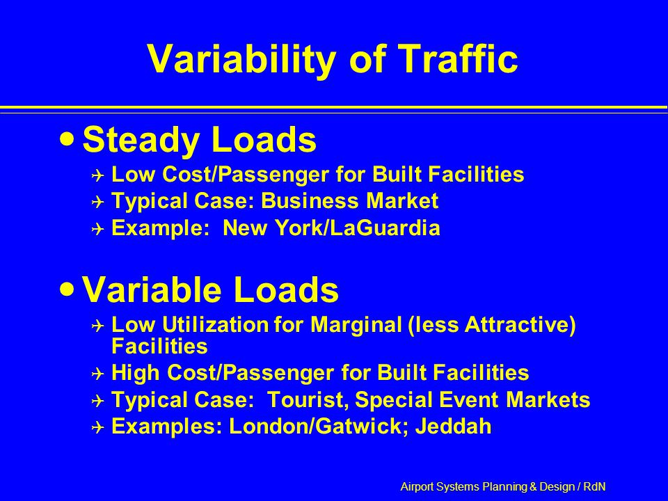 Airport Systems Planning & Design / RdN Variability of Traffic Steady Loads  Low Cost/Passenger for Built Facilities  Typical Case: Business Market  Example: New York/LaGuardia Variable Loads  Low Utilization for Marginal (less Attractive) Facilities  High Cost/Passenger for Built Facilities  Typical Case: Tourist, Special Event Markets  Examples: London/Gatwick; Jeddah