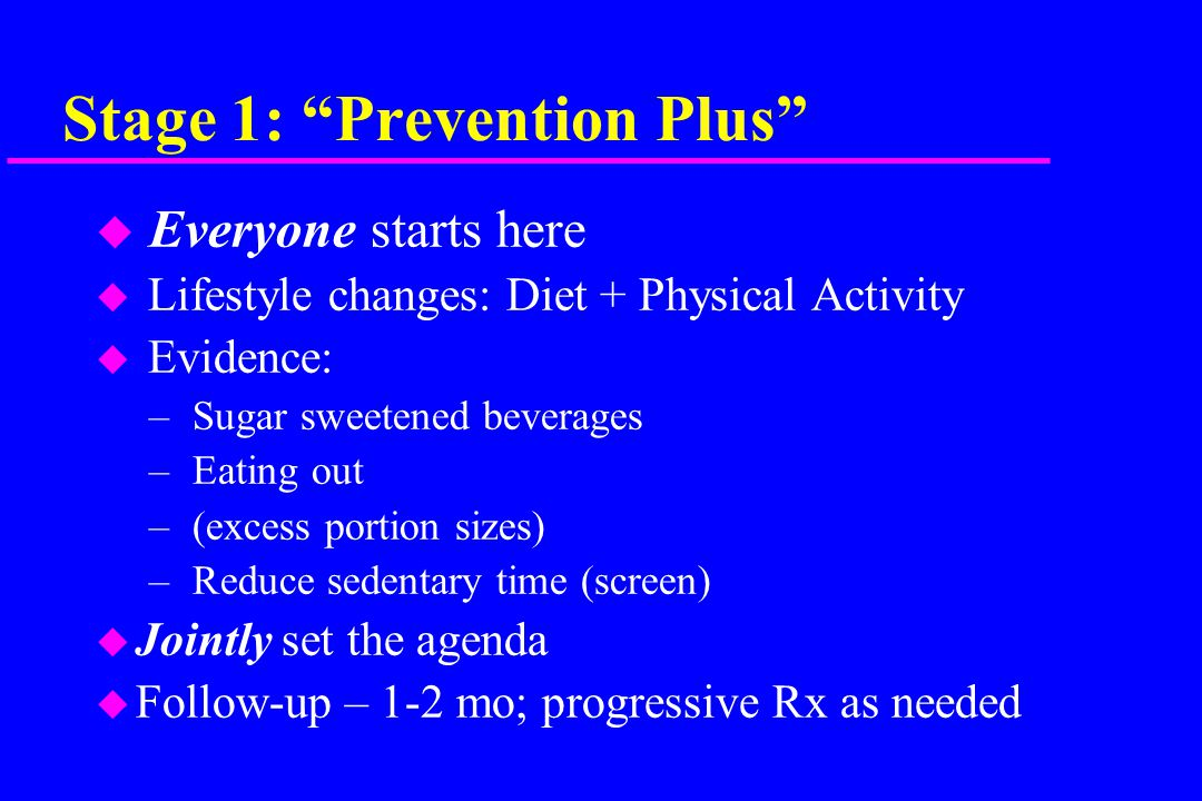 Stage 1: Prevention Plus u Everyone starts here u Lifestyle changes: Diet + Physical Activity u Evidence: – Sugar sweetened beverages – Eating out – (excess portion sizes) – Reduce sedentary time (screen) u Jointly set the agenda u Follow-up – 1-2 mo; progressive Rx as needed