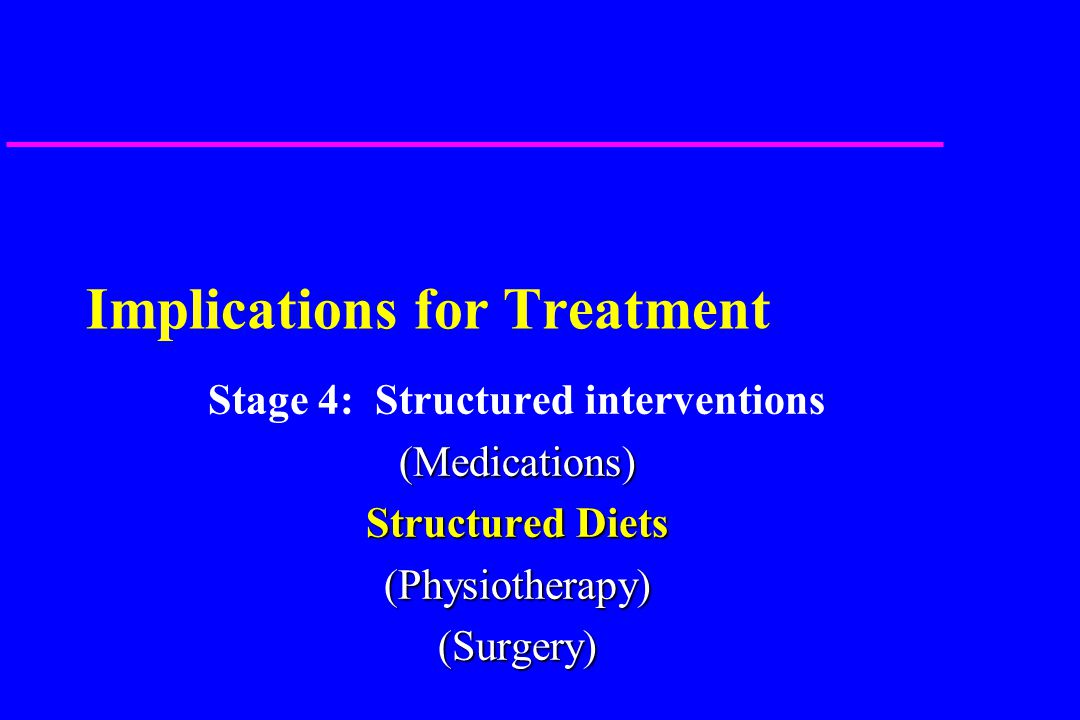 Implications for Treatment Stage 4: Structured interventions(Medications) Structured Diets (Physiotherapy)(Surgery)