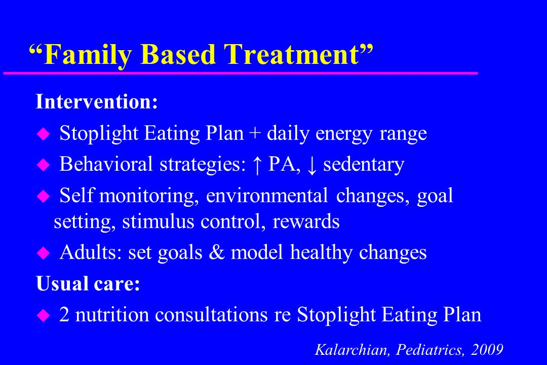 Family Based Treatment Intervention: u Stoplight Eating Plan + daily energy range u Behavioral strategies: ↑ PA, ↓ sedentary u Self monitoring, environmental changes, goal setting, stimulus control, rewards u Adults: set goals & model healthy changes Usual care: u 2 nutrition consultations re Stoplight Eating Plan Kalarchian, Pediatrics, 2009