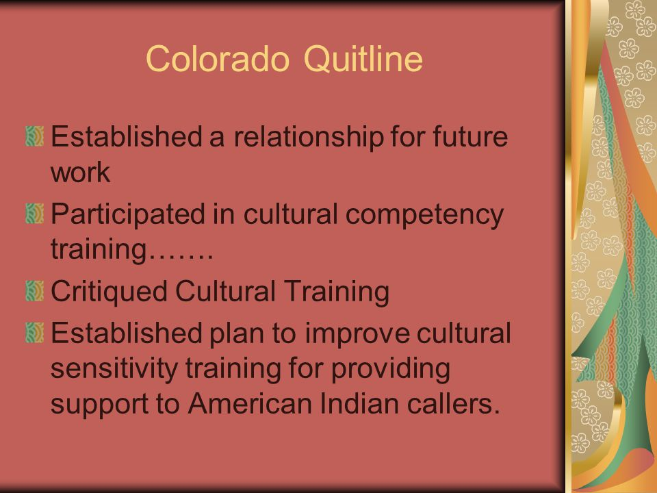 Colorado Quitline Established a relationship for future work Participated in cultural competency training…….