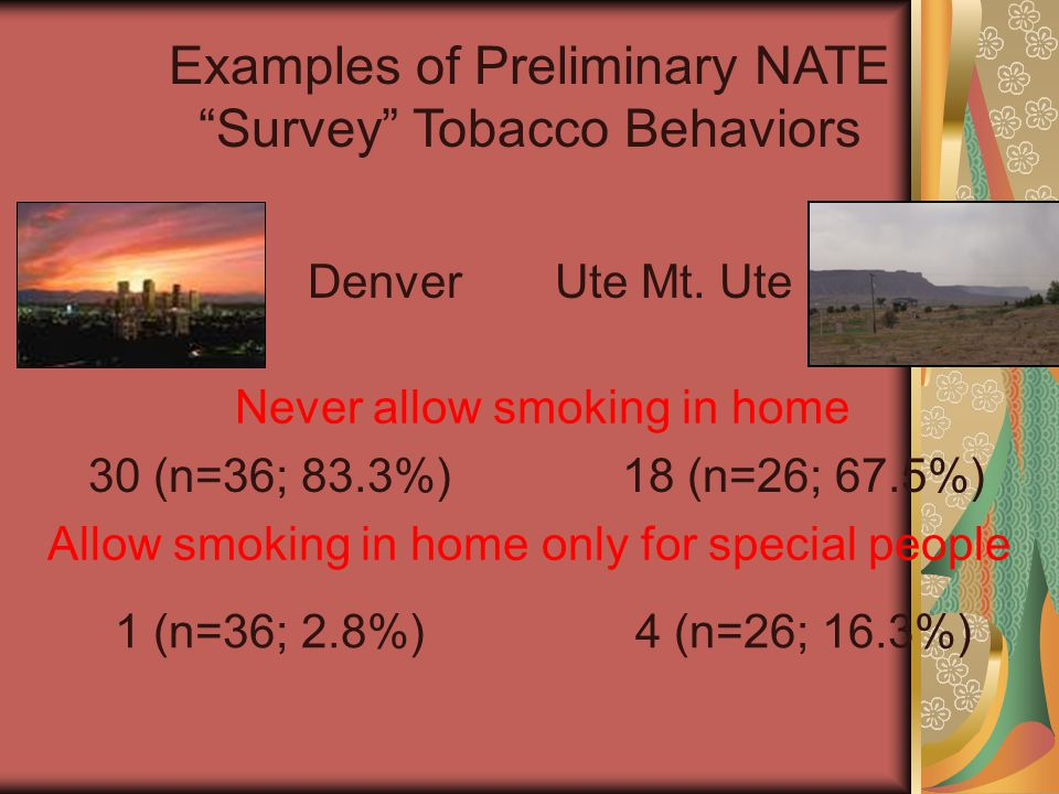 Examples of Preliminary NATE Survey Tobacco Behaviors DenverUte Mt.