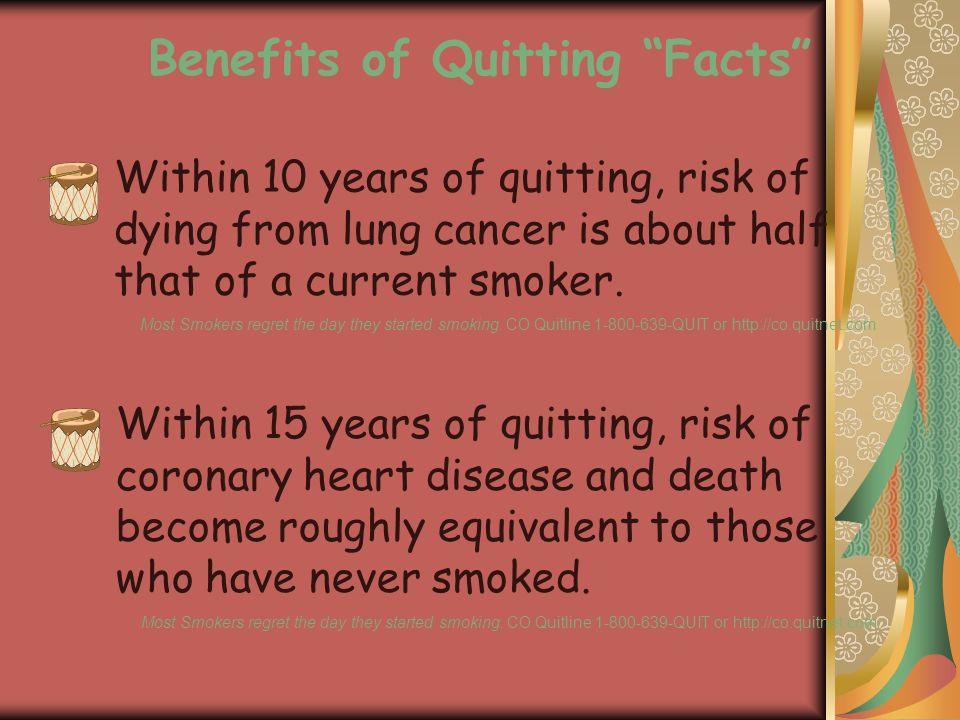 Within 10 years of quitting, risk of dying from lung cancer is about half that of a current smoker.