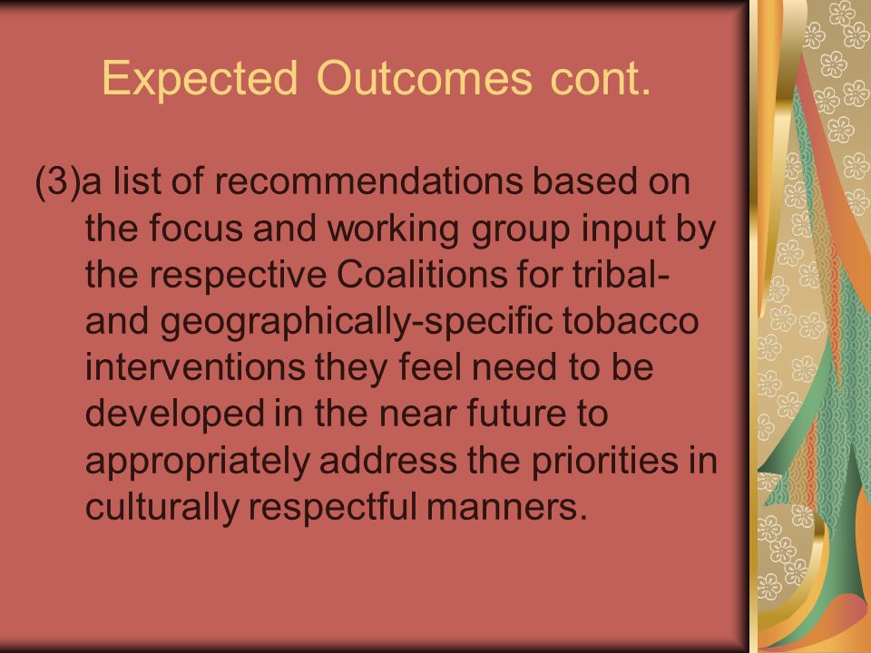 Expected Outcomes cont.
