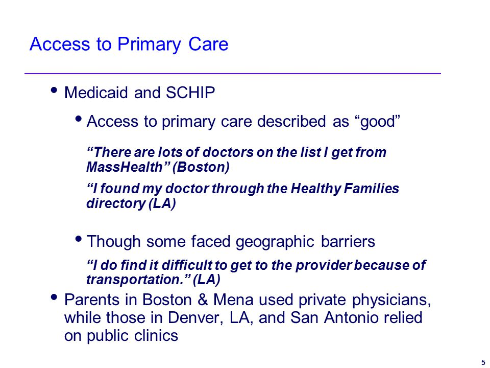5 5 Access to Primary Care  Medicaid and SCHIP  Access to primary care described as good There are lots of doctors on the list I get from MassHealth (Boston) I found my doctor through the Healthy Families directory (LA)  Though some faced geographic barriers I do find it difficult to get to the provider because of transportation. (LA)  Parents in Boston & Mena used private physicians, while those in Denver, LA, and San Antonio relied on public clinics