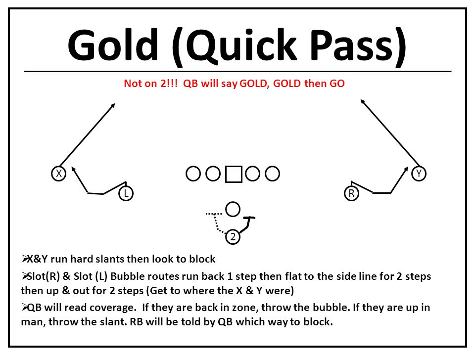 Gold (Quick Pass) L X R Y  X&Y run hard slants then look to block  Slot(R) & Slot (L) Bubble routes run back 1 step then flat to the side line for 2