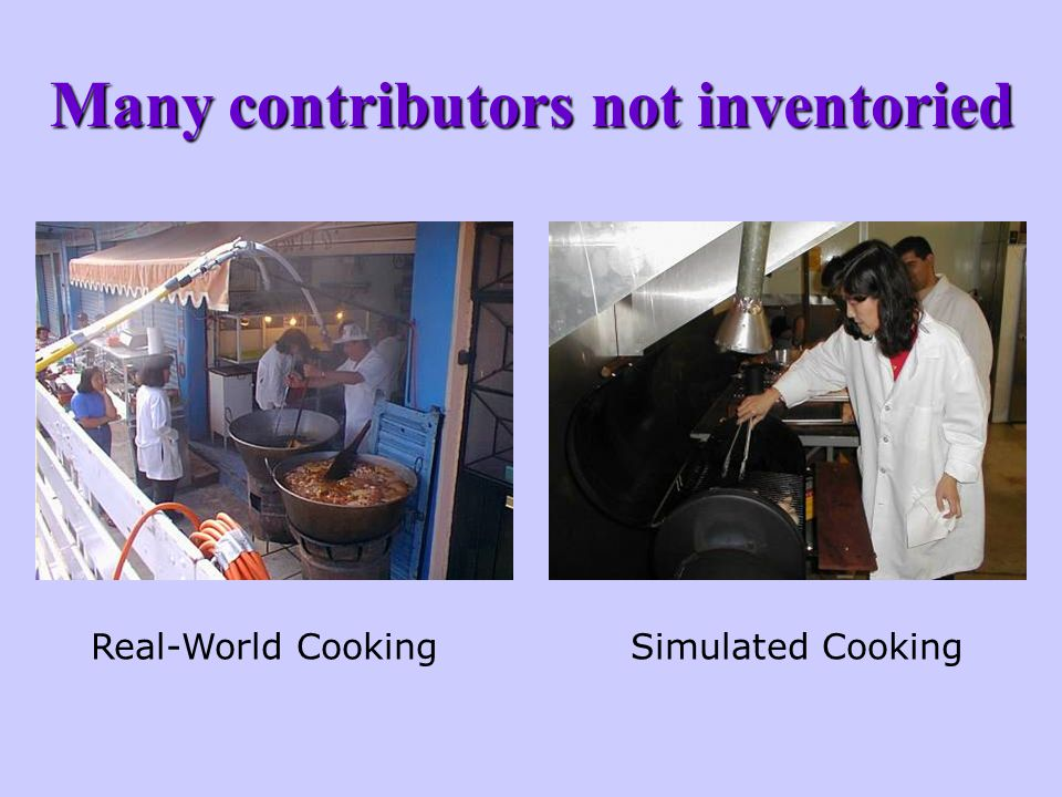 Many contributors not inventoried Real-World CookingSimulated Cooking