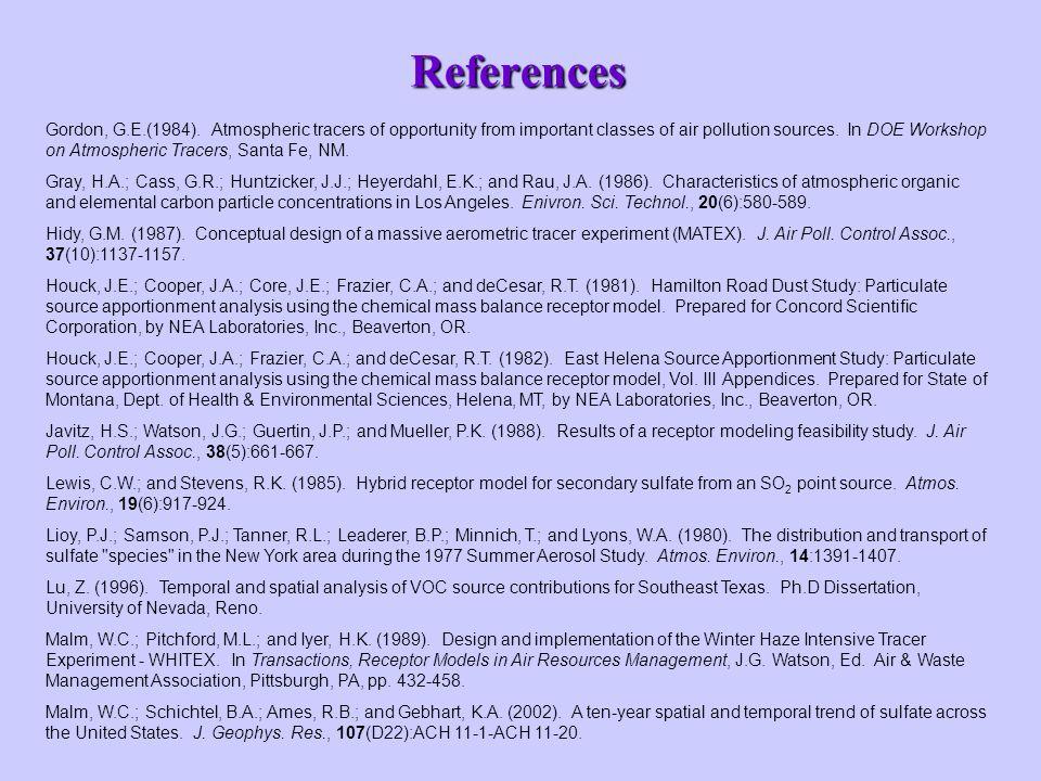 References Gordon, G.E.(1984).