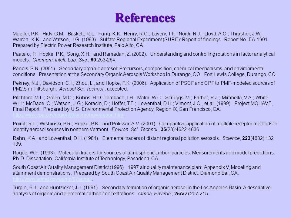 References Mueller, P.K.; Hidy, G.M.; Baskett, R.L.; Fung, K.K.; Henry, R.C.; Lavery, T.F.; Nordi, N.J.; Lloyd, A.C.; Thrasher, J.W.; Warren, K.K.; and Watson, J.G.