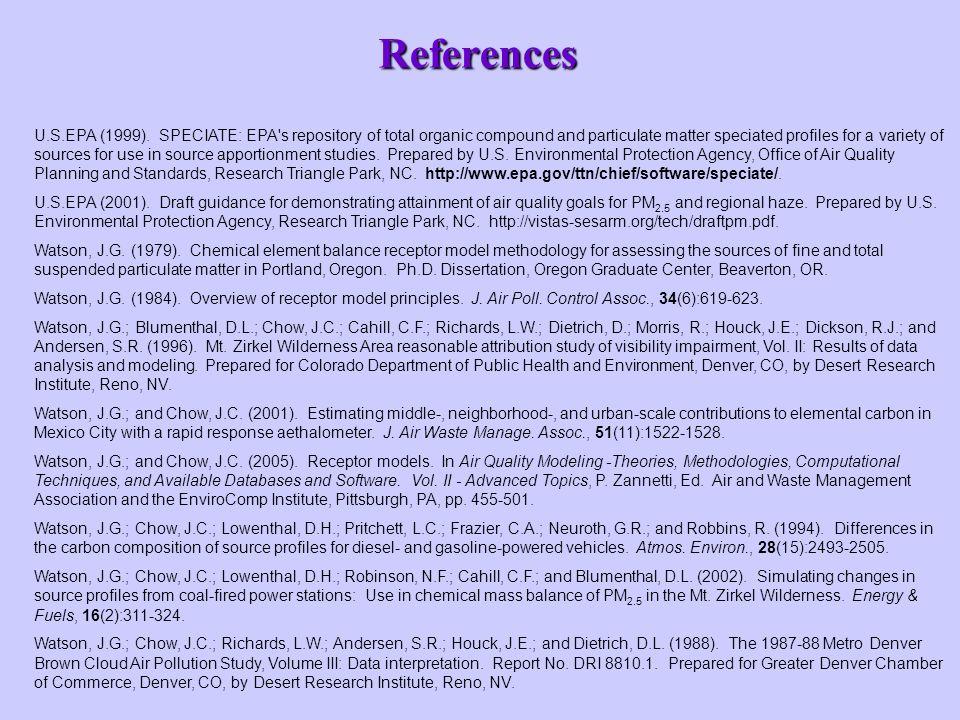 References U.S.EPA (1999).