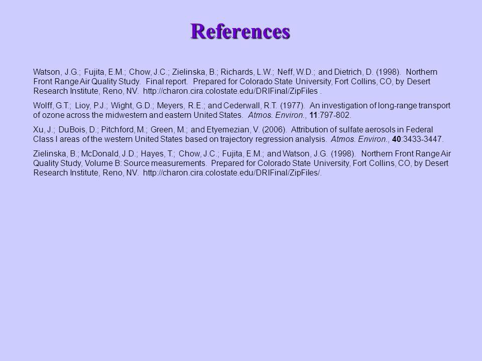 References Watson, J.G.; Fujita, E.M.; Chow, J.C.; Zielinska, B.; Richards, L.W.; Neff, W.D.; and Dietrich, D.