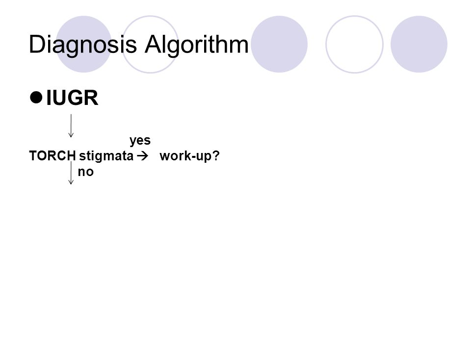 Diagnosis Algorithm IUGR yes TORCH stigmata  work-up no