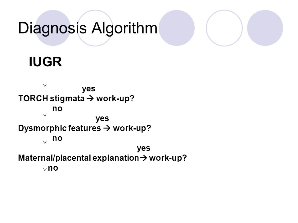 Diagnosis Algorithm IUGR yes TORCH stigmata  work-up.