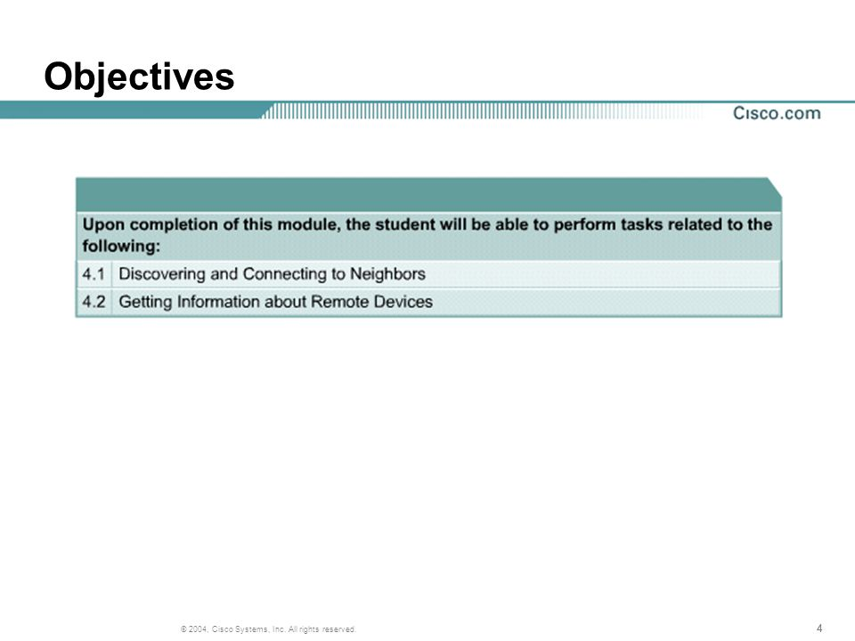 444 © 2004, Cisco Systems, Inc. All rights reserved. Objectives
