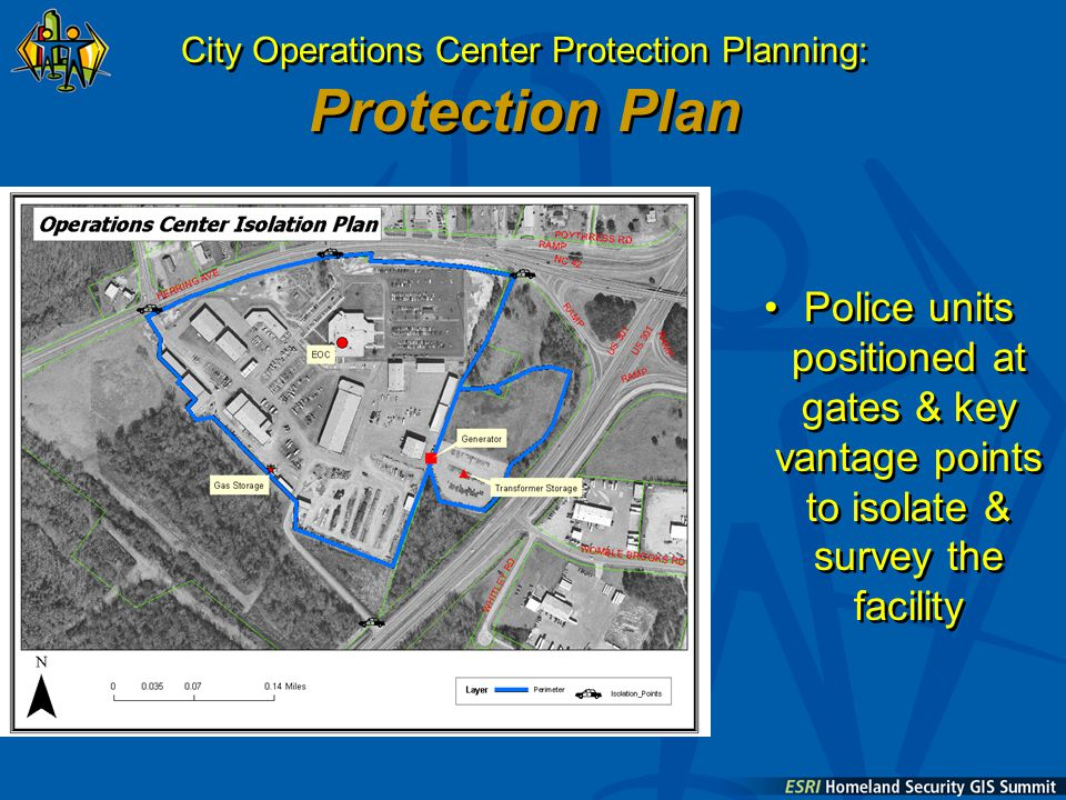 City Operations Center Protection Planning: Protection Plan Police units positioned at gates & key vantage points to isolate & survey the facility