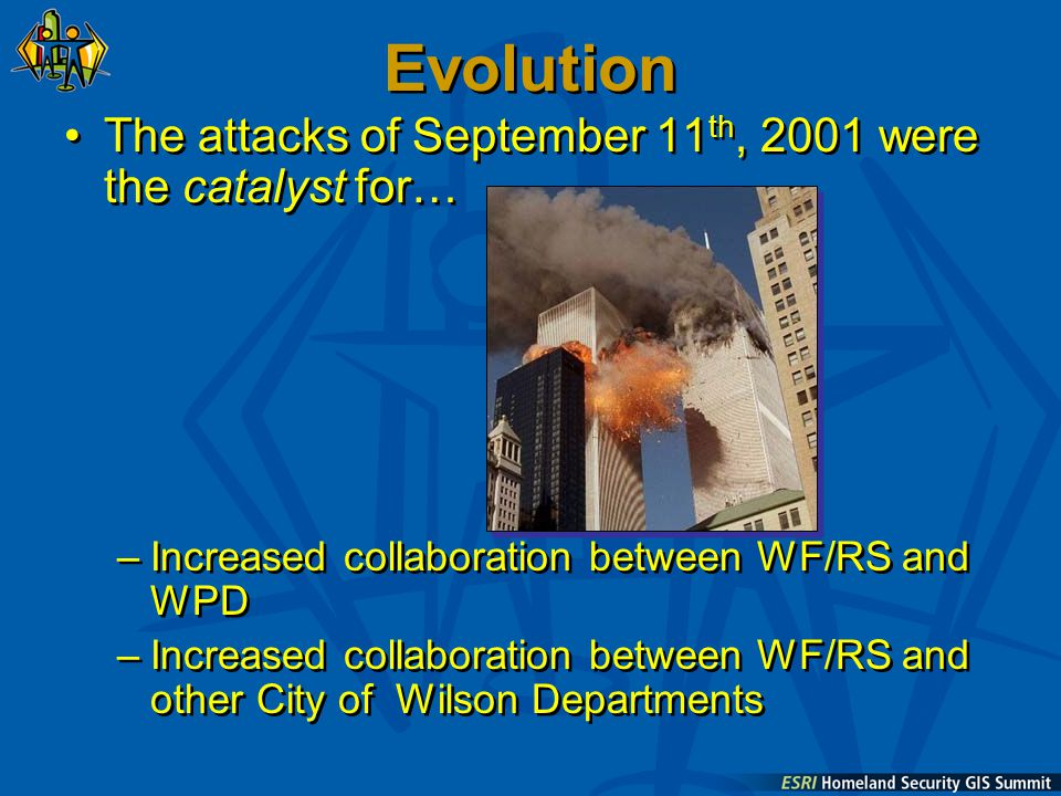 Evolution The attacks of September 11 th, 2001 were the catalyst for… –Increased collaboration between WF/RS and WPD –Increased collaboration between WF/RS and other City of Wilson Departments The attacks of September 11 th, 2001 were the catalyst for… –Increased collaboration between WF/RS and WPD –Increased collaboration between WF/RS and other City of Wilson Departments