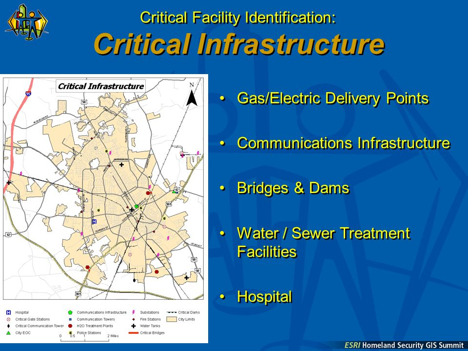 Gas/Electric Delivery Points Communications Infrastructure Bridges & Dams Water / Sewer Treatment Facilities Hospital Gas/Electric Delivery Points Communications Infrastructure Bridges & Dams Water / Sewer Treatment Facilities Hospital Critical Facility Identification: Critical Infrastructure