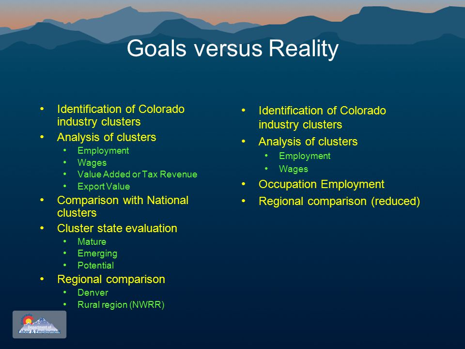 Goals versus Reality Identification of Colorado industry clusters Analysis of clusters Employment Wages Value Added or Tax Revenue Export Value Comparison with National clusters Cluster state evaluation Mature Emerging Potential Regional comparison Denver Rural region (NWRR) Identification of Colorado industry clusters Analysis of clusters Employment Wages Occupation Employment Regional comparison (reduced)