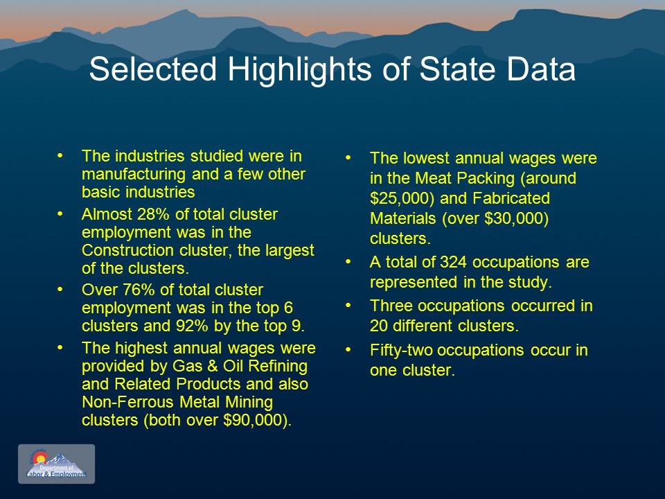 Selected Highlights of State Data The industries studied were in manufacturing and a few other basic industries Almost 28% of total cluster employment was in the Construction cluster, the largest of the clusters.