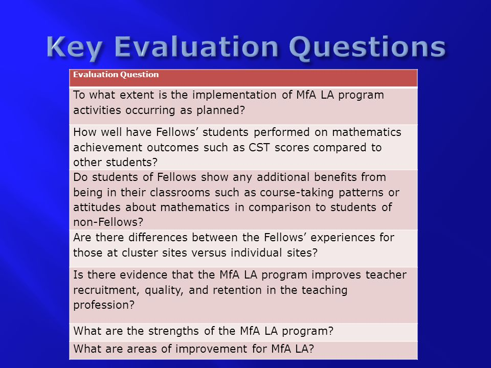 Evaluation Question To what extent is the implementation of MfA LA program activities occurring as planned.