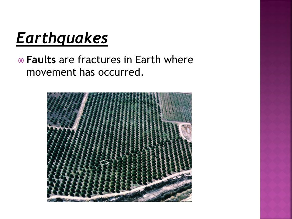  Faults are fractures in Earth where movement has occurred.