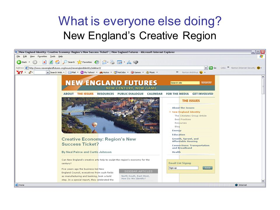 What is everyone else doing? New England's Creative Region