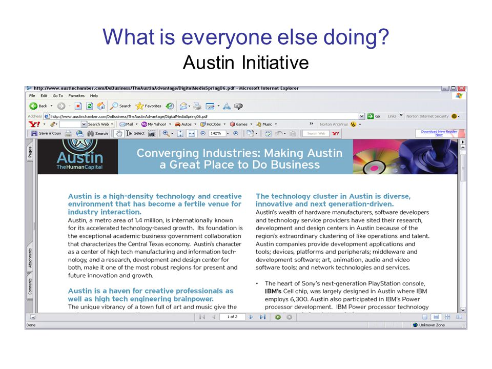 What is everyone else doing? Austin Initiative