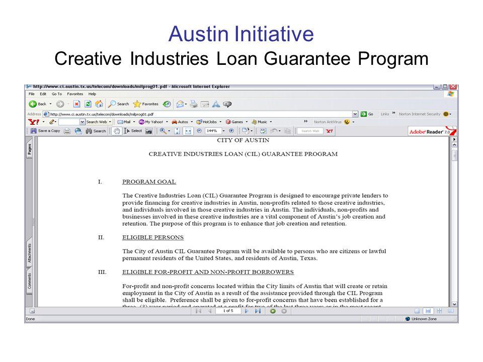 Austin Initiative Creative Industries Loan Guarantee Program