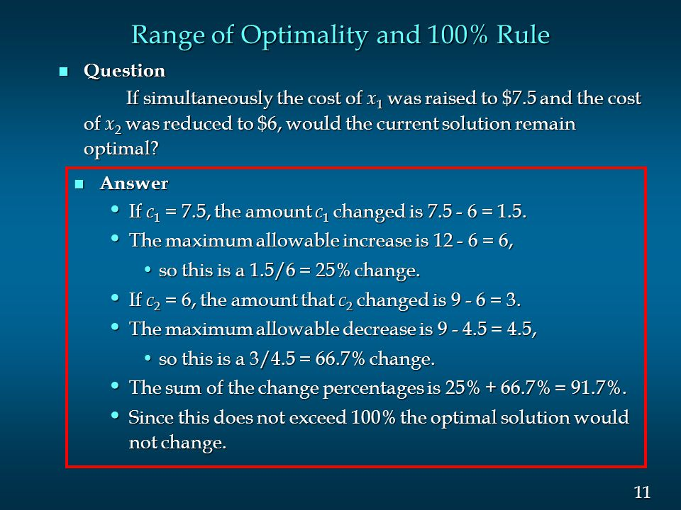 11 Range of Optimality and 100% Rule n Question If simultaneously the cost of x 1 was raised to $7.5 and the cost of x 2 was reduced to $6, would the