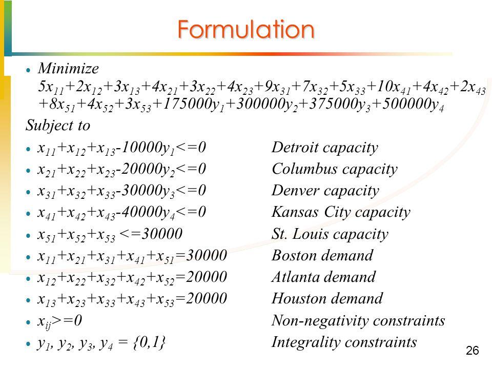 26 Formulation  Minimize 5x 11 +2x 12 +3x 13 +4x 21 +3x 22 +4x 23 +9x 31 +7x 32 +5x 33 +10x 41 +4x 42 +2x 43 +8x 51 +4x 52 +3x 53 +175000y 1 +300000y 2 +375000y 3 +500000y 4 Subject to  x 11 +x 12 +x 13 -10000y 1 <=0Detroit capacity  x 21 +x 22 +x 23 -20000y 2 <=0Columbus capacity  x 31 +x 32 +x 33 -30000y 3 <=0 Denver capacity  x 41 +x 42 +x 43 -40000y 4 <=0Kansas City capacity  x 51 +x 52 +x 53 <=30000St.