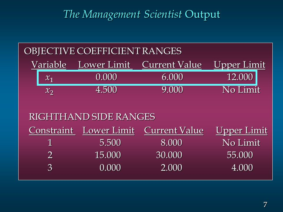 7 7 The Management Scientist Output OBJECTIVE COEFFICIENT RANGES Variable Lower Limit Current Value Upper Limit Variable Lower Limit Current Value Upp
