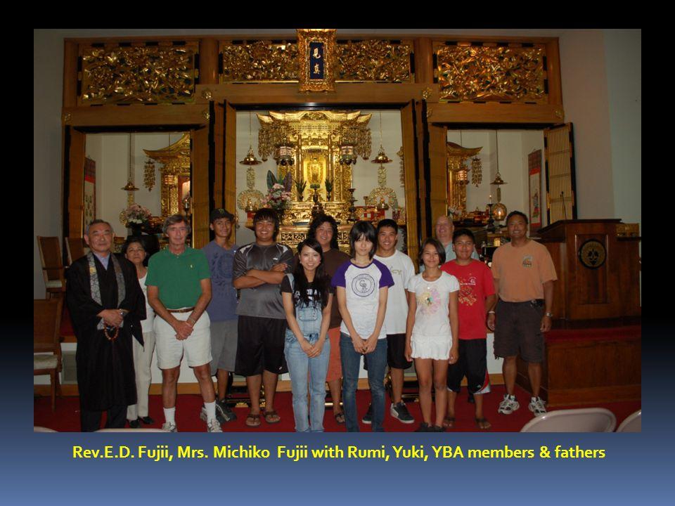 Rev.E.D. Fujii, Mrs. Michiko Fujii with Rumi, Yuki, YBA members & fathers