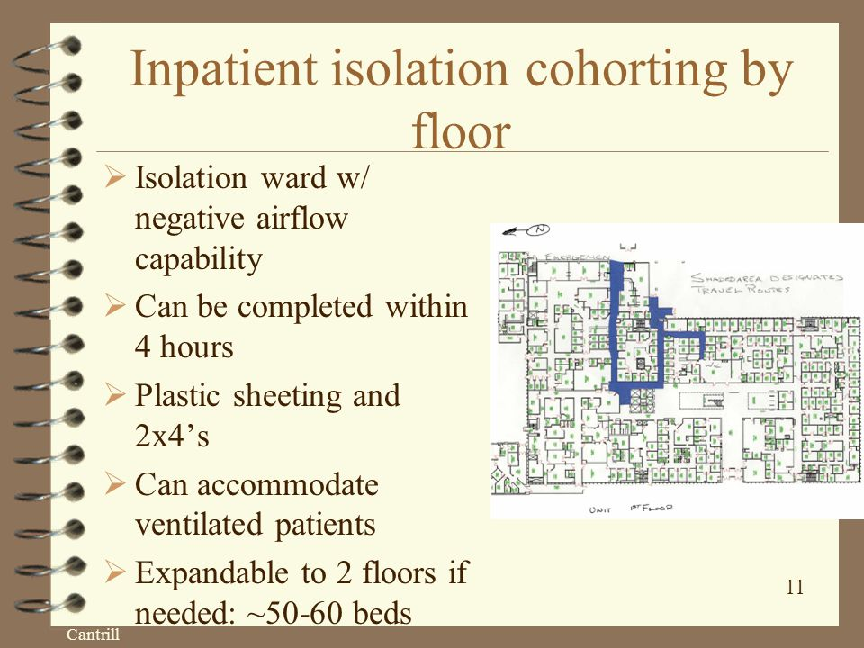 Cantrill 11 Inpatient isolation cohorting by floor  Isolation ward w/ negative airflow capability  Can be completed within 4 hours  Plastic sheeting and 2x4's  Can accommodate ventilated patients  Expandable to 2 floors if needed: ~50-60 beds