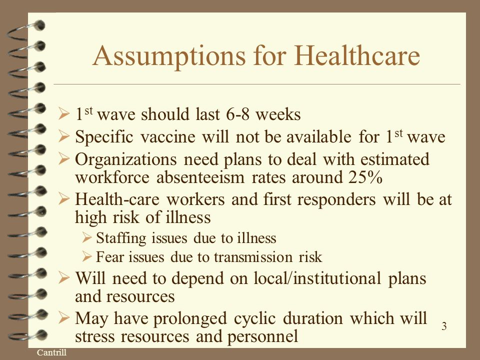Cantrill 3 Assumptions for Healthcare  1 st wave should last 6-8 weeks  Specific vaccine will not be available for 1 st wave  Organizations need plans to deal with estimated workforce absenteeism rates around 25%  Health-care workers and first responders will be at high risk of illness  Staffing issues due to illness  Fear issues due to transmission risk  Will need to depend on local/institutional plans and resources  May have prolonged cyclic duration which will stress resources and personnel