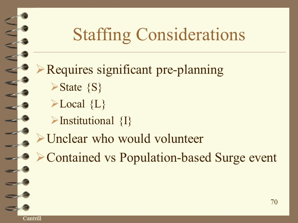 Cantrill 70 Staffing Considerations  Requires significant pre-planning  State {S}  Local {L}  Institutional {I}  Unclear who would volunteer  Contained vs Population-based Surge event